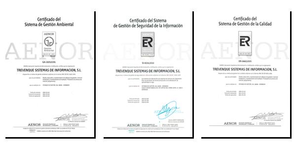 Certificados AENOR de Grupo Trevenque
