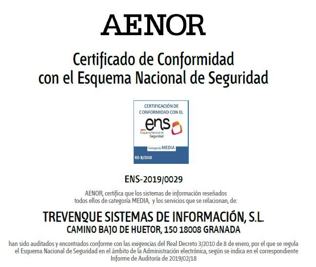 Certificado del ENS de Grupo Trevenque