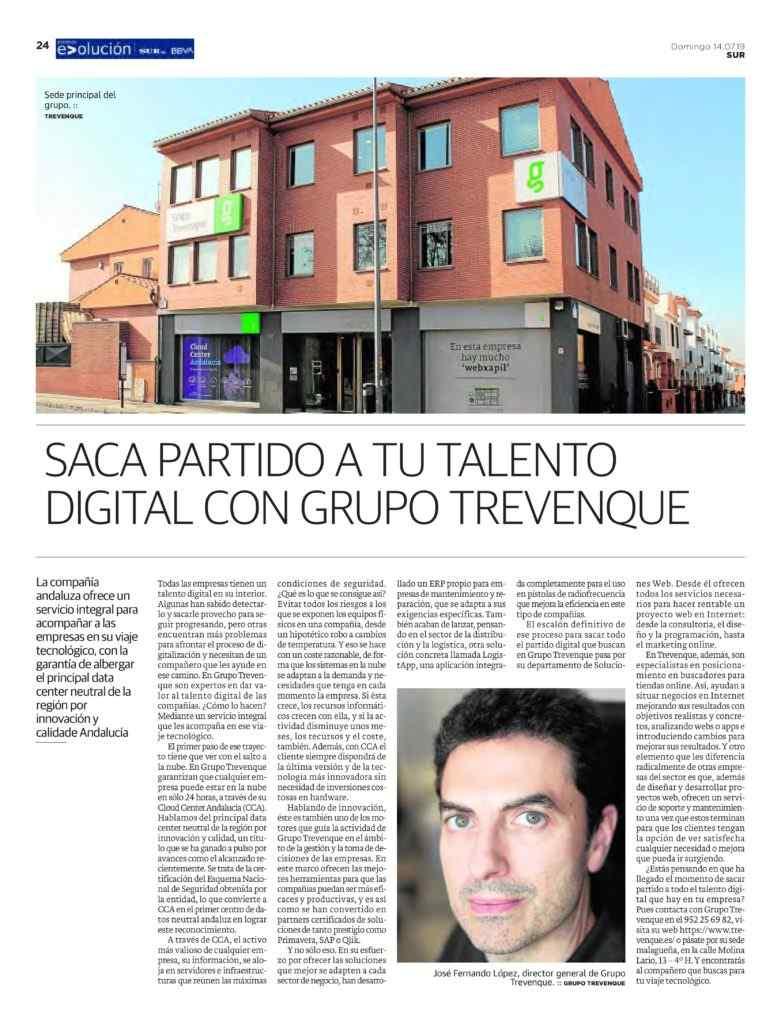 Grupo Trevenque en el suplemento sobre los 'Premios Evolución' de Diario Sur - Primera página
